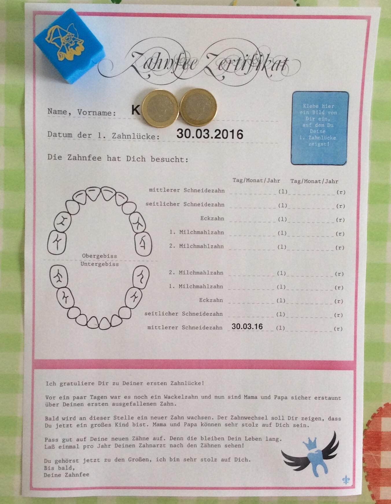 Zahnfee Zertifikat
